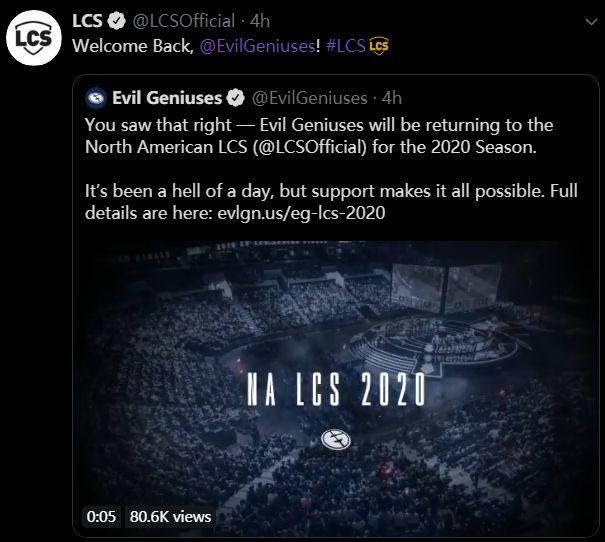 EG战队重返LCS:确认收购Fox联赛席位